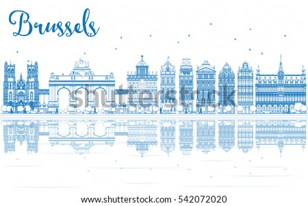 outline brussels skyline with