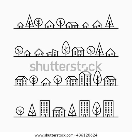 outline buildings and trees in