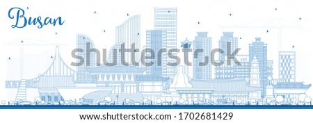 Outline Busan South Korea City Skyline with Blue Buildings. Vector Illustration. Business Travel and Tourism Concept with Historic and Modern Architecture. Busan Cityscape with Landmarks.