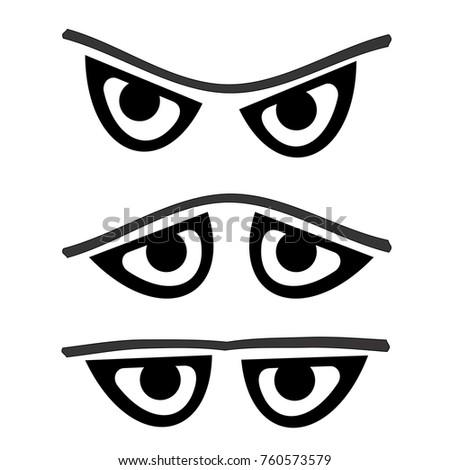 Outline Cartoon Eyes Vector