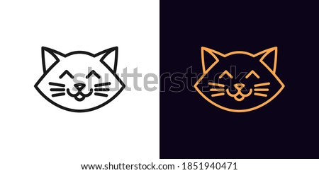 Outline cat head, icon with editable stroke. Linear kitten face with whiskers, cute and funny cat emoji. Outline silhouette of cartoon kitten. Vector icon, sign, symbol for UI and Animation Stock photo ©
