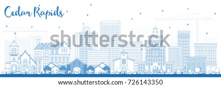 Outline Cedar Rapids Iowa Skyline with Blue Buildings. Vector Illustration. Business Travel and Tourism Illustration with Historic Architecture.