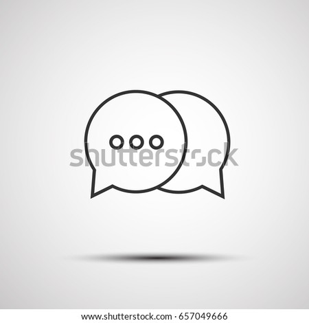 Outline chat icon isolated on grey background. Line bubble chat symbol for website design, mobile application, ui. Editable stroke. Vector illustration. Eps10