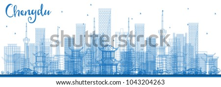 Outline Chengdu China City Skyline with Blue Buildings. Vector Illustration. Business Travel and Tourism Concept with Modern Architecture. Chengdu Cityscape with Landmarks.