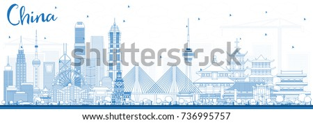 Outline China City Skyline. Famous Landmarks in China. Vector Illustration. Business Travel and Tourism Concept. Image for Presentation, Banner, Placard and Web Site.