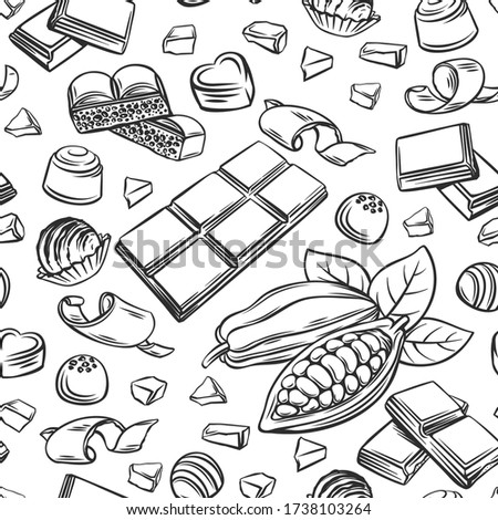 Outline chocolate seamless pattern. Hand drawn candy, Cocoa Beans, Chips, and Chocolate Bar background for confectionery products shop. Vector illustration.