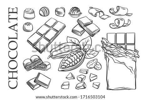 Outline chocolate set icons. Drawn candy, Cocoa Beans, Chips, and Chocolate Bar for confectionery products shop. Vector illustration.