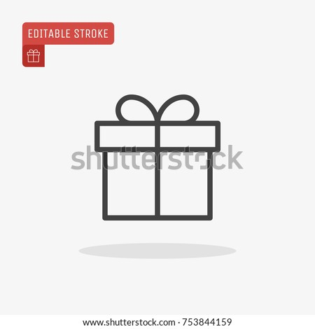 Outline Christmas Gift box icon isolated on grey background. Present pictogram. Symbol of Happy New Year, Xmas holiday celebration. Editable stroke. Vector illustration, eps10