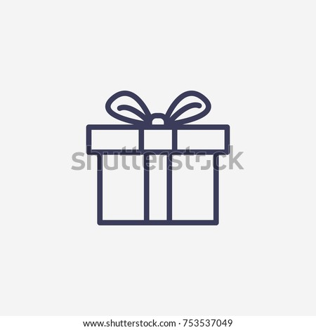 Outline christmas gift icon illustration vector symbol