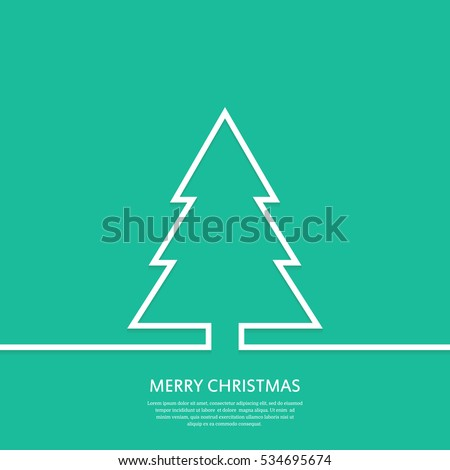 Outline Christmas tree. Christmas greeting card. Minimal abstract background. Vector illustration. Eps10