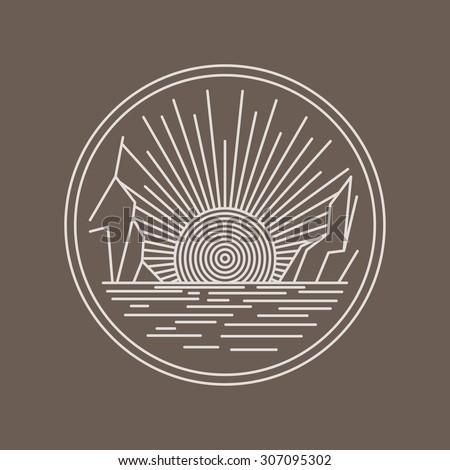 Outline circle logo brand design. Nature sea landscape. Ocean sunset, sunrise between rocks