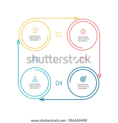 Outline circular infographic element. Linear flat chart, diagram, scheme, graph with 4 steps, options, parts, processes with arrows. Vector design element.
