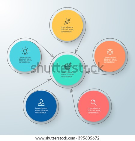 Outline circular infographic with central element. Chart, diagram, scheme, graph with 5, 6 steps, options, parts, processes with arrows. Vector design element.