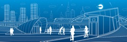 Outline city life illustration panorama. Evening town urban scene. People walking. Train rides. Modern architecture. White lines on blue background. Vector design art