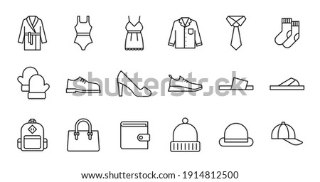 Outline Clothing Icon set. Contains such Icons as bathrobe, pajamas, socks, shoes, and more