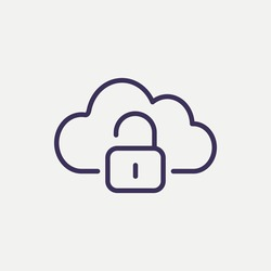 Outline cloud security icon. cloud security vector illustration. Symbol for web and mobile