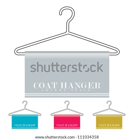 Outline coat hanger with material drapped over and copy space