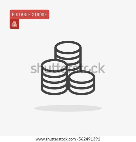 Outline Coins Icon isolated on grey background. Line money symbol for web site design, logo, app, UI. Editable stroke. Vector illustration, EPS10