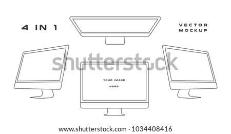 Outline computer monitor isolated on whitebackground. Can use for template presentation, web design and ui kits. Black electronic gadget, device mockup. Vector