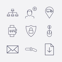 Outline 9 connection icon set. download document, lan network, shield lock, broken chain, online shopping, message, smart watch, truck location and add user vector illustration