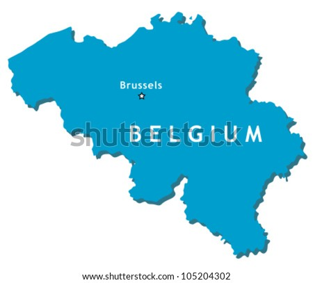 Outline country map of Belgium with Brussels (capital city)