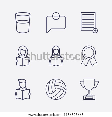 Outline 9 cup icon set. award, water glasses, add document, read the book, award cup, add chat and volleyball ball vector illustration
