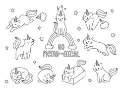 Outline cute unicorn cat play around element for coloring book for kids, teen, and adult to destress
