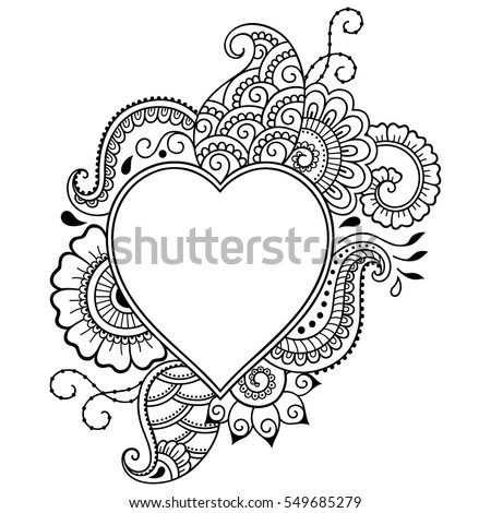 Outline Decorative Doodle Flower In Mehndi Style Floral Frame The Shape Of Heart