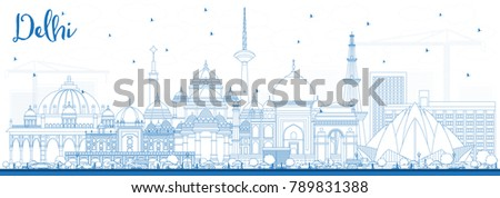 Outline Delhi India City Skyline with Blue Buildings. Vector Illustration. Business Travel and Tourism Concept with Historic Architecture. Delhi Cityscape with Landmarks.