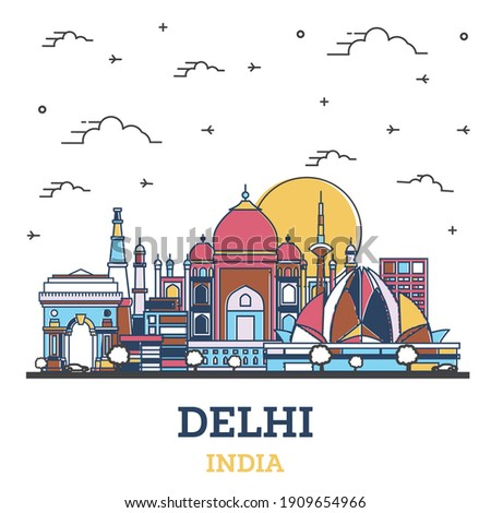 Outline Delhi India City Skyline with Colored Historic Buildings Isolated on White. Vector Illustration. Delhi Cityscape with Landmarks.