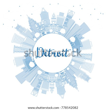 Outline Detroit Michigan USA City Skyline with Blue Buildings and Copy Space. Vector Illustration. Business Travel and Tourism Concept with Modern Architecture. Detroit Cityscape with Landmarks.