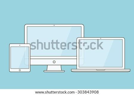Outline device mockups. Computer monitor, computer, laptop, tablet . Vector illustration.