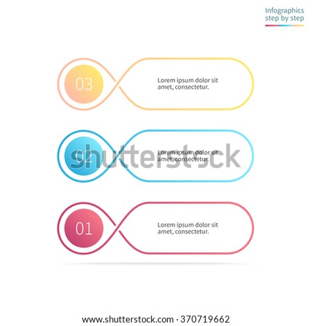Outline diagram, menu, interface with 3 steps, options, parts, processes. Can be used for workflow layout, number options, web design, infographics.