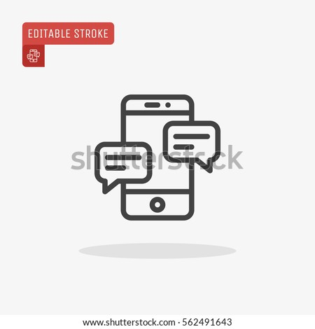 Outline Dialogue Icon isolated on grey background. Line Chat symbol for your web site design, logo, app, UI. Editable stroke. Vector illustration. EPS10