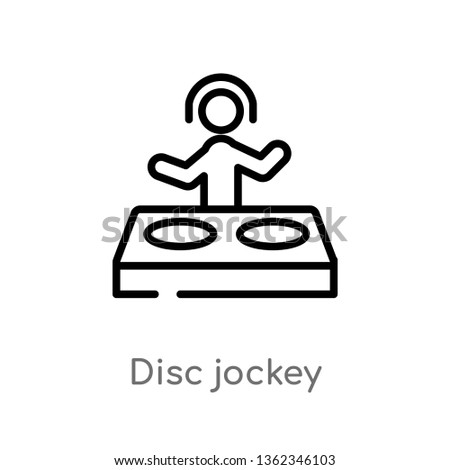 outline disc jockey vector icon. isolated black simple line element illustration from activities concept. editable vector stroke disc jockey icon on white background