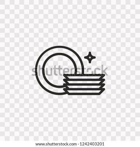 Outline Dishware icon. Vector illustration style is flat iconic symbol, black color, transparent background. Designed for web and software interfaces. Editable stroke. Eps10