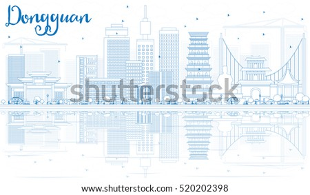 outline dongguan skyline with