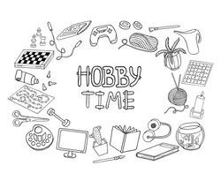 Outline doodle hobbies set. Stay home concept frame. Top table and video games, painting, reading, sport, knitting, gardening vector illustration. Hand drawn elements for coloring, banners, design