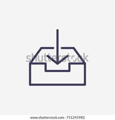 Outline download in box icon illustration vector symbol