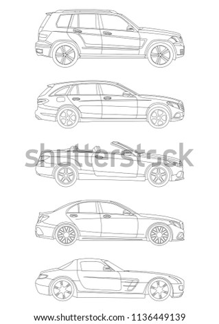 Outline drawing a car in profile. Top to bottom (GLK 300 crossover,Mercedes-Benz C-class Estate station wagon, Mercedes-Benz SLC-Class convertible,Mercedes w205 sedan,Mercedes SLS AMG sport coupe).