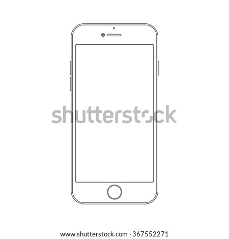 Outline drawing modern smartphone. Elegant thin line style design.