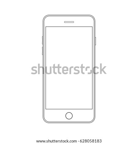 Outline drawing modern smartphone. Smartphone outline mock up vector design template. Mobile phone line icon. Doodle cellphone.Outline drawing smartphone. Smartphone outline icon. Modern mobile phone.