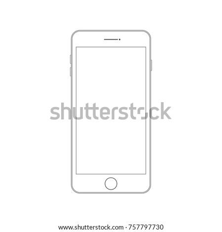 Outline drawing modern smartphone. Smartphone outline mock up vector design template. Mobile phone line icon. Doodle cellphone. Outline drawing smartphone. Smartphone outline icon. Modern mobile phone