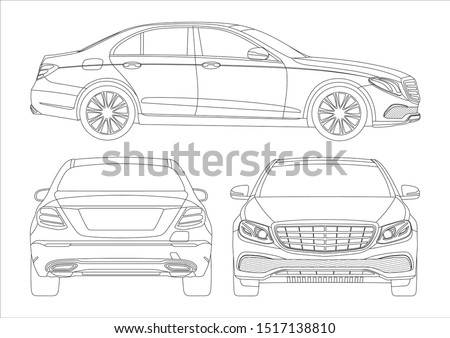 outline drawing of a premium sedan. Mercedes-Benz E-Class W213.