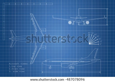 Free airlplane blueprint vector download free vector art stock outline drawing plane on a blue background top side and front view vector malvernweather Gallery