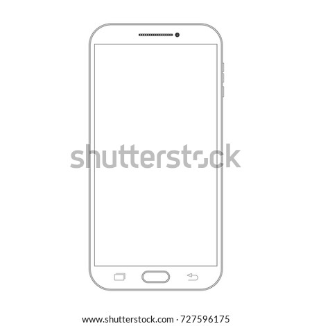 Outline drawing smartphone. Elegant thin line style design
