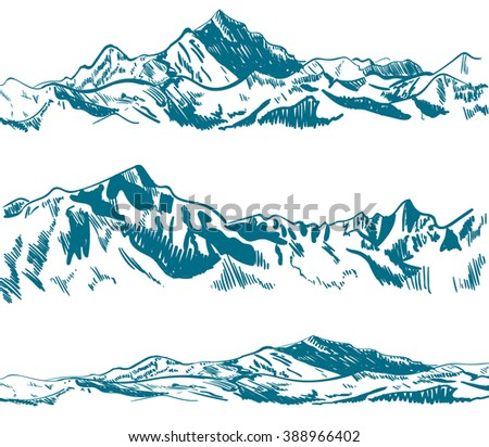 outline drawings  mountains
