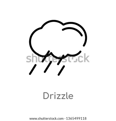 outline drizzle vector icon. isolated black simple line element illustration from meteorology concept. editable vector stroke drizzle icon on white background
