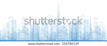 Outline Dubai City Skyscrapers in blue color. Vector illustration. Business and tourism concept with skyscrapers. Image for presentation, banner, placard or web site