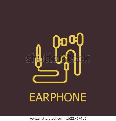 Outline earphone vector icon. Earphone illustration for web, mobile apps, design. Earphone vector symbol.